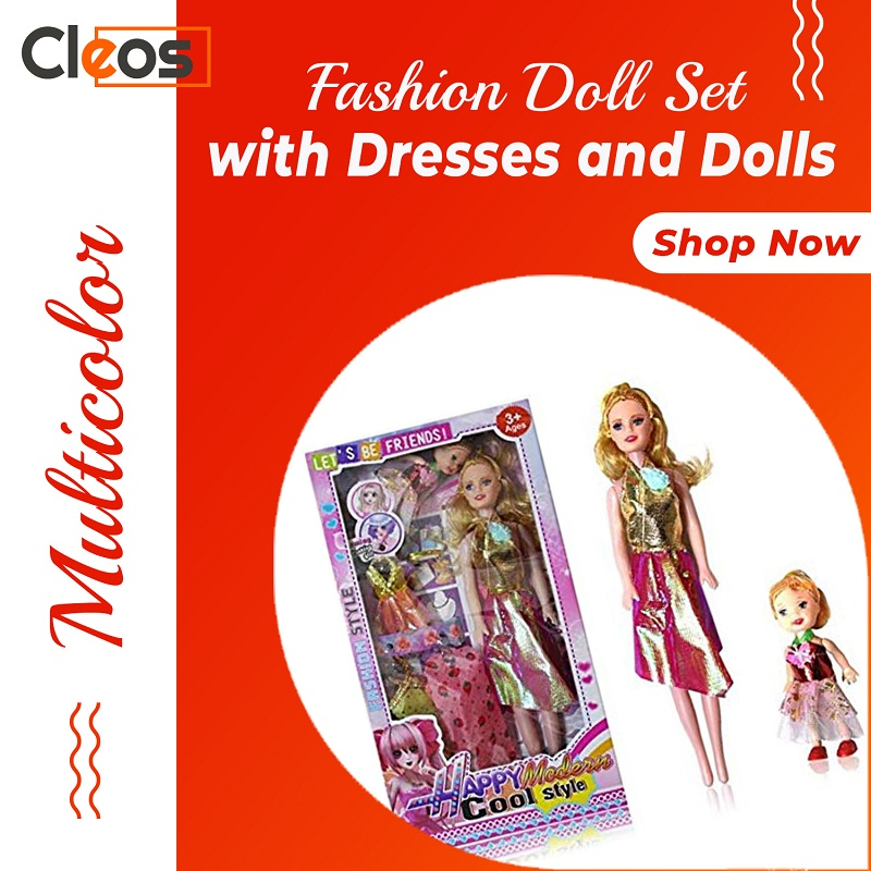 Barbie Fashion Doll Set with Dresses and Dolls   Cleos