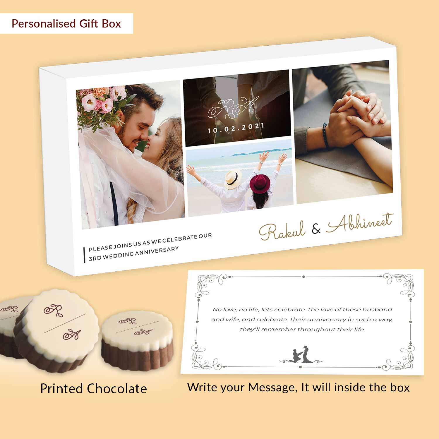 Photo collage Personalised Chocolates Anniversary Invitation