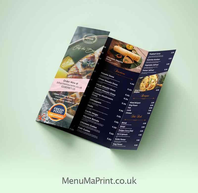 Gate Fold Leaflet Printing, Cheap Gate Fold Flyers UK  MenuMa